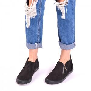 Čierne dámske topánky so zipsom na boku