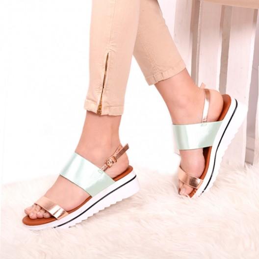Zelené dámske sandále na platforme