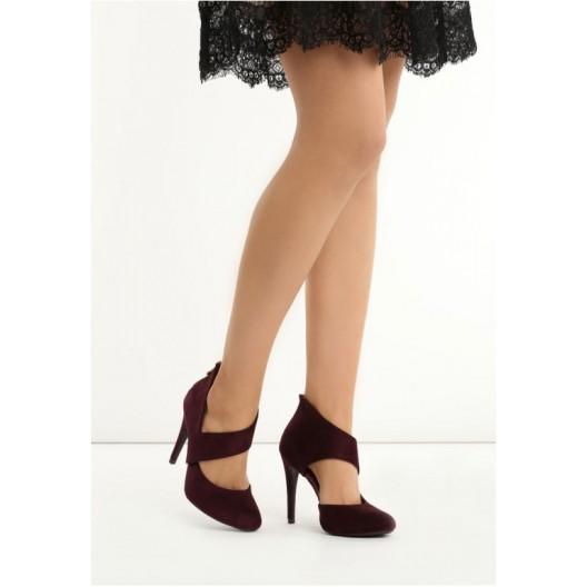 Bordové dámske sandále so zipsom na päte