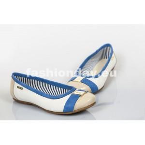 Dámske kožené balerínky modro- bežové DT221