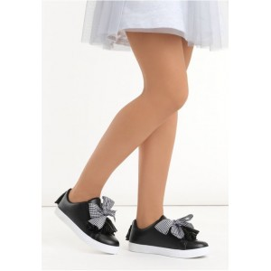 Čierne dámske tenisky so strapcami a mašľou