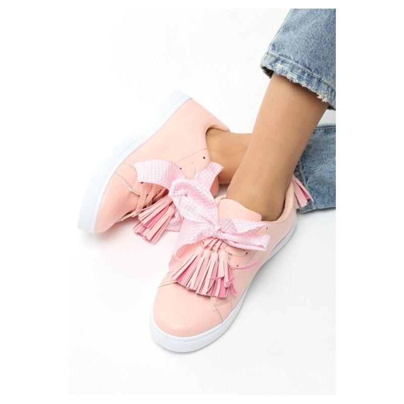 58c6cdcfd2 Dámske tenisky so strapcami ružovej farby - fashionday.eu