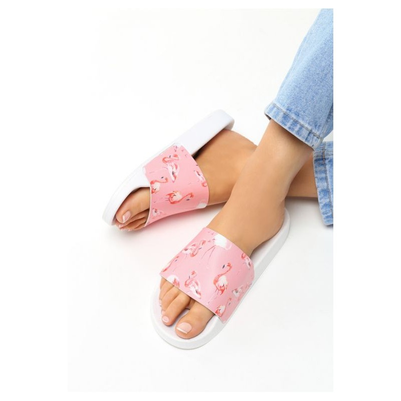 82e16c4789 Letné ružové dámske šľapky s motívom plameniakov - fashionday.eu