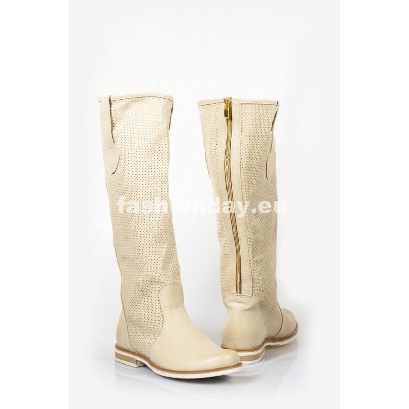 Dámske kožené čižmy dierkované bežové DT216 - fashionday.eu 40b8cf2e238
