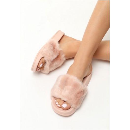 Dámske ružové šľapky s chlpatým materiálom