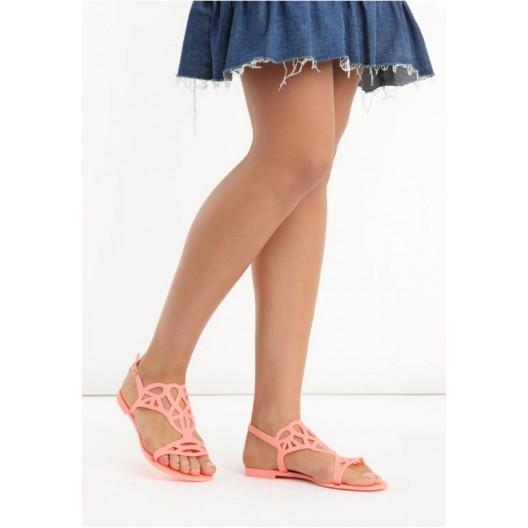 Letné dámske sandále oranžovej farby
