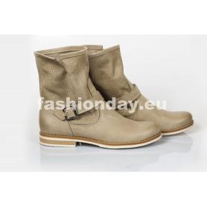 Dámske kožené topánky dierkované cappuccino DT200
