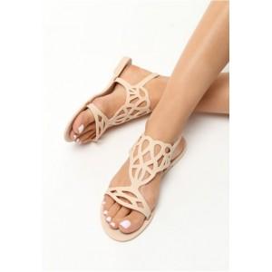 Béžové dámske sandále na nízkej podrážke