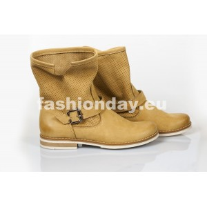 Dámske kožené topánky dierkované pieskové DT201
