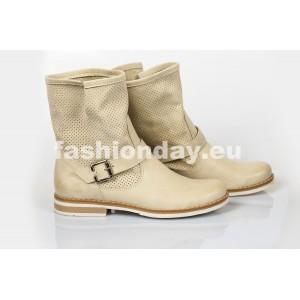 Dámske kožené topánky dierkované bežové DT202