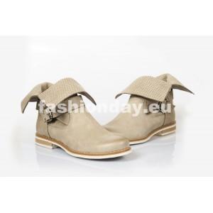 Dámske kožené topánky dierkované cappuccino DT204