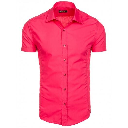 Ružová slim fit pánska košeľa s krátkym rukávom