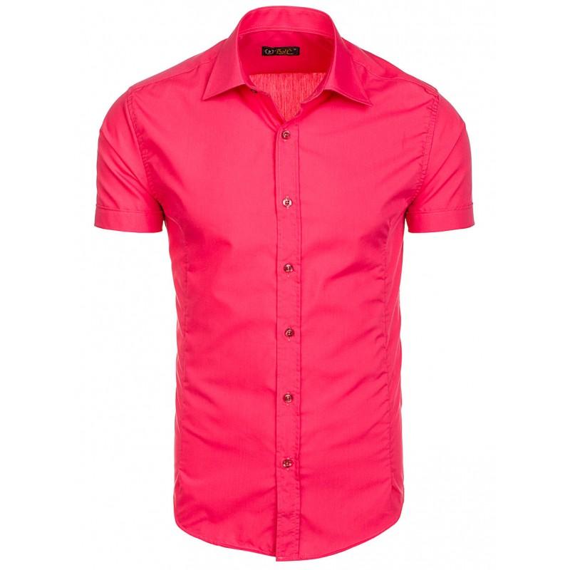 cf24a70585f0 Ružová slim fit pánska košeľa s krátkym rukávom - fashionday.eu