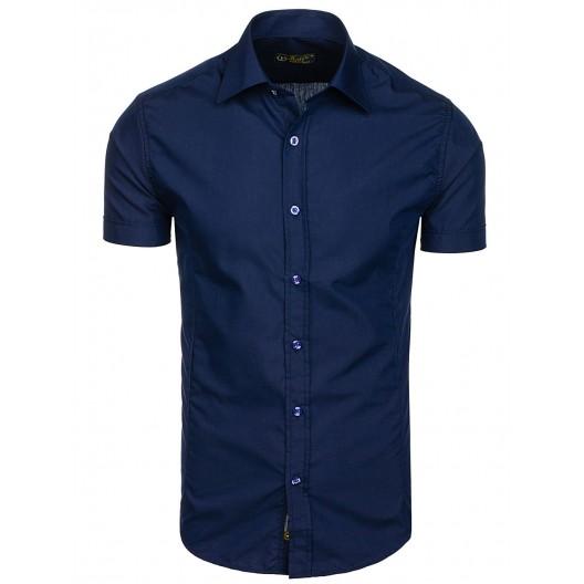 Tmavo modrá pánska slim fit košeľa s krátkym rukávom