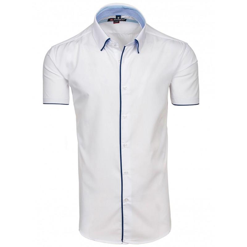 f2fa4d19ada7 Biela pánska košeľa s krátkym rukávom a lemovaním - fashionday.eu