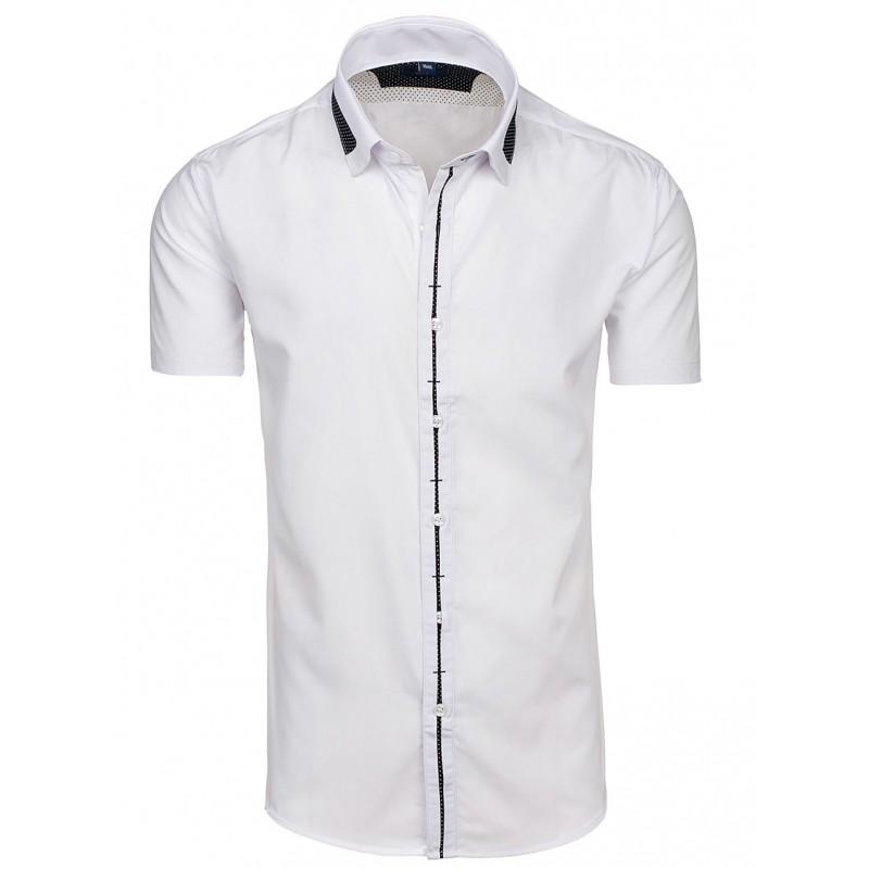 10686c070fda Pánska košeľa s krátkym rukávom bielej farby - fashionday.eu