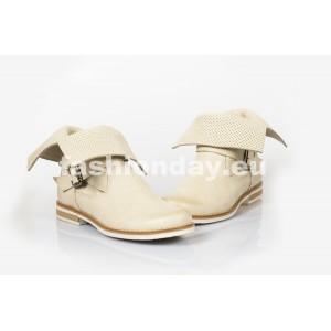 Dámske kožené topánky dierkované bežové DT205