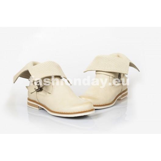 Dámske topánky Dierkované Pravá koža Farba bežová