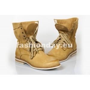 Dámske kožené topánky pieskové DT209