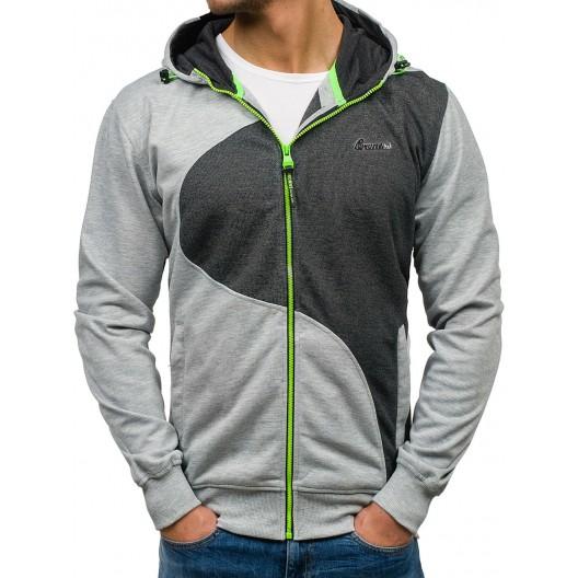 Sivá pánska mikina na zips