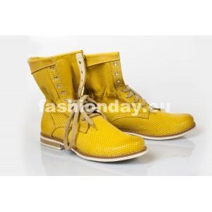 Dámske kožené topánky žlté DT211