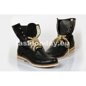 Dámske kožené topánky čierne DT213