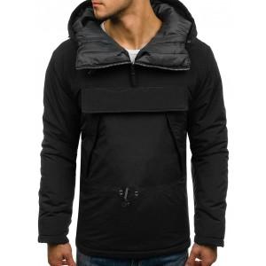 Dlhá pánska prechodná bunda v čiernej farbe