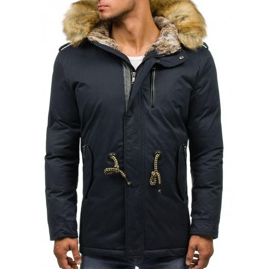 Tmavosivá pánska zimná bunda s kožušinou