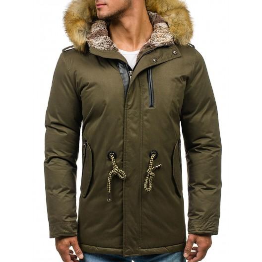 Zelený pánsky zimný kabát s kožušinou