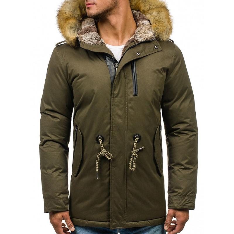 Predchádzajúci. Zelený pánsky zimný kabát s kožušinou ... 0888ae6a947