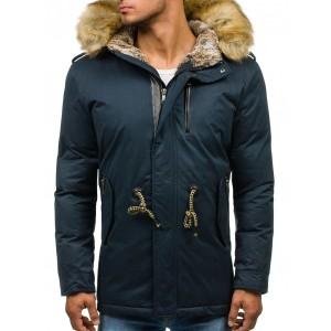 Modré pánske zateplené zimné bundy s kožušinou zimu