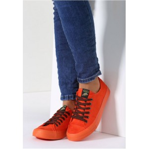 Oranžové dámske tenisky s gumovou podrážkou
