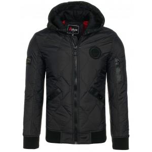 Čierna pánska prechodná bunda s kapucňou