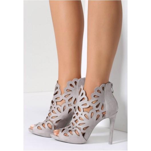 Sivé elegantné sandále na ihlovom podpätku