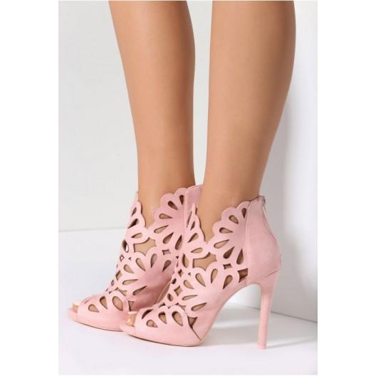 Vysoké dámske sandále v ružovej farbe
