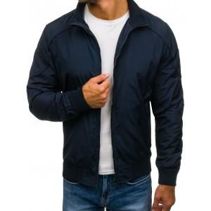 Tmavo modrá pánska prechodná bunda bez kapucne