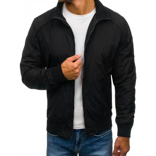 Štýlová pánska prechodná bunda čiernej farby