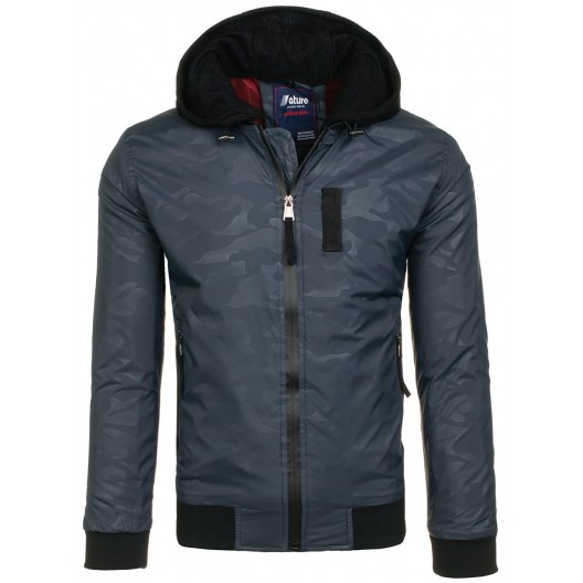Tmavo modrá pánska bomber bunda na zips