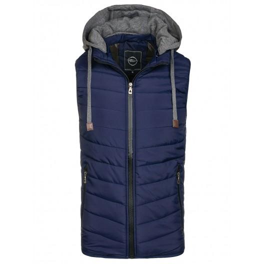 Tmavo modrá pánska vesta s kapucňou
