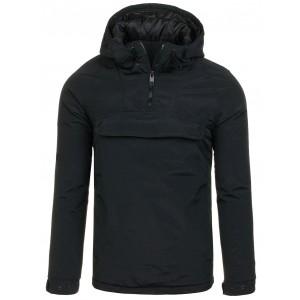 Čierna pánska prechodná bunda s vreckom na hrudi