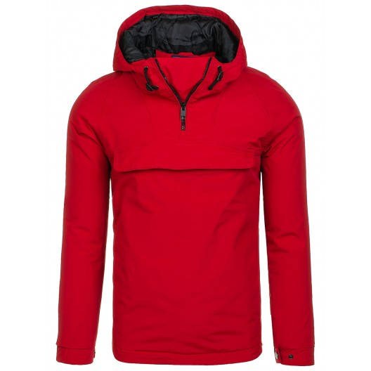Červená pánska bunda s kapucňou