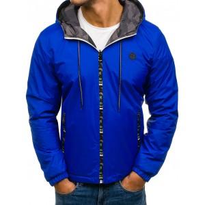 Modrá obojstranná prechodná bunda pre pánov