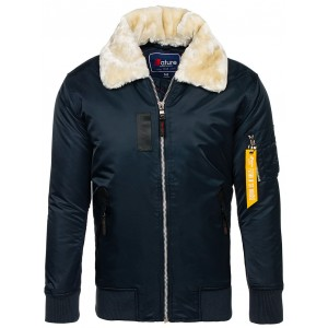 Tmavo modrá pánska zimná bunda s kožušinou