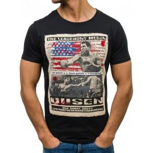 Čierne tričko pre pánov s motívom Muhammad Ali