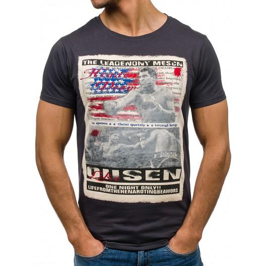 Tmavosivé pánske tričko s motívom Muhammad Ali