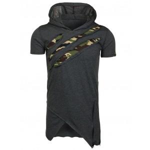 Dlhé sivé pánske tričko v motíve army