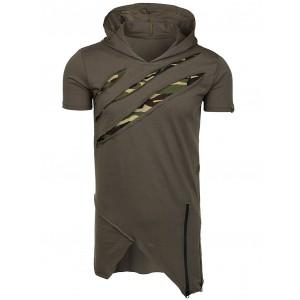 Army zelené pánske tričko s kapucňou