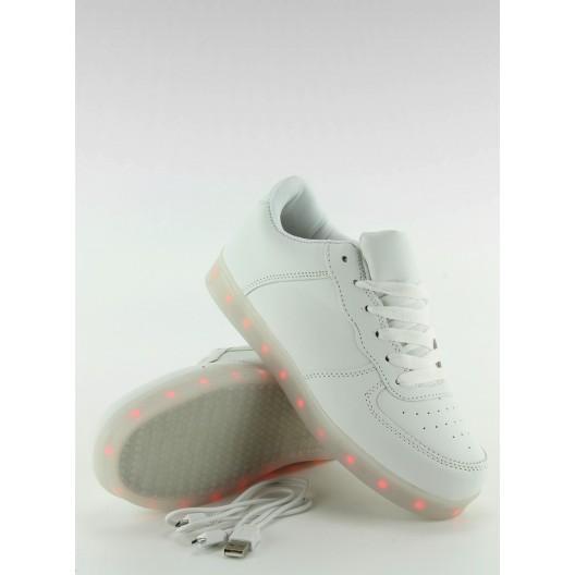 Svietiace dámske tenisky bielej farbe