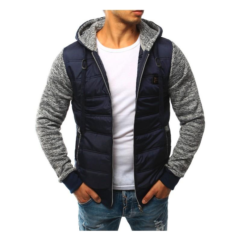 Modrá pánska prechodná bunda s kapucňou - fashionday.eu 0f20fcadf3a