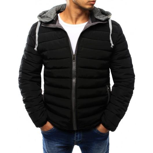 Elegantná pánska prechodná bunda v čiernej farbe